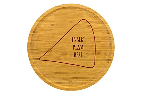 Pizzateller 32cm aus Holz (Bambus) - mit verschiedenen Pizza Motiven | Pizza | Gravur | Geschenk | Pizzateller | Servierteller (Motiv: Insert Pizza)
