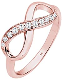 Elli Damen-Ring Unendlichkeit rosé-vergoldet 925 Sterling Silber Zirkonia