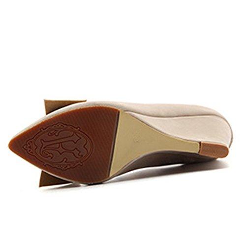 Oasap Women's Pointed Toe Bow Wedge Heels Slip-on Pumps Burgundy