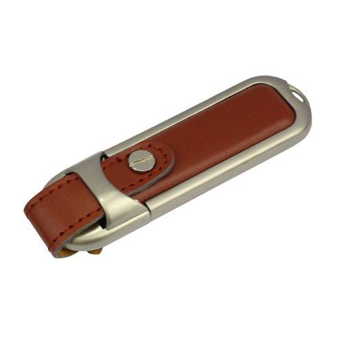 Llavero Cuero 16 GB - Memoria Almacenamiento de Datos – USB Flash Pen Drive Memory Stick - Marrón