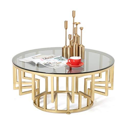 Runde Glas-marmor (WXiaJ-Kaffetisch Moderner Couchtisch, lichtdurchlässige gehärtete Glasplatte, Metall-Eisenrahmen, für Hotel, Esszimmer, Wohnzimmer von Möbeln, rund, Gold)