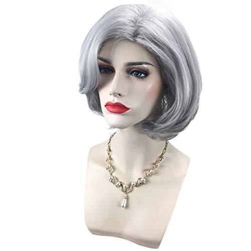 Frauen/Damen Graue Kurze Lockige Perücke, Hitzebeständige Perücke Kunstfaser Haar Volle Perücke Täglichen Verschleiß Oder Cosplay Halloween Fancy Dress ()