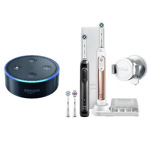 Oral-B Genius 9900 Elektrische Zahnbürste mit 2 Handstücken inkl. Amazon Echo Dot (2. Generation), schwarz