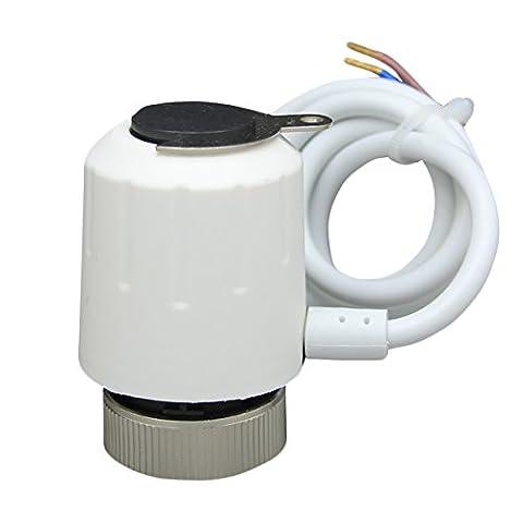 Beok Rz-aw électrique thermique actionneur pour valve de système de chauffage par le sol Collecteur avec indicateur de travail et manuel Loquet en métal Noir, 230V NC (normalement fermé), blanc, 230.00