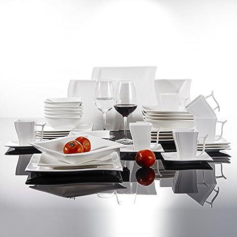 Malacasa Série Flora, 36pcs Service de Table Porcelaine Vaisselles, 6 Tasses, 6 Sous-tasses, 6 Assiettes à Dessert, 6 Assiettes à Soupe Creuses, 6 Assiettes Plates Plat, 6 Bols, Art de Table
