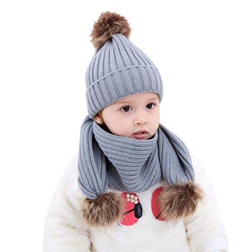 gorro y bufanda bebe conjunto de bufanda de sombreros de punto de invierno gorra con pelota hecha punto niños niñas collar pañuelos (Gris)