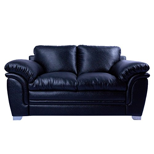 MOW 3+2 Black Leather Recron Sofa Set