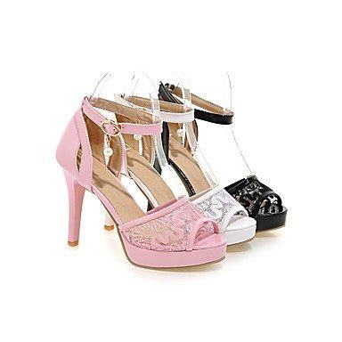 LvYuan Da donna-Sandali-Formale Casual Serata e festa-Club Shoes-A stiletto-Tulle Finta pelle-Nero Rosa Bianco Pink