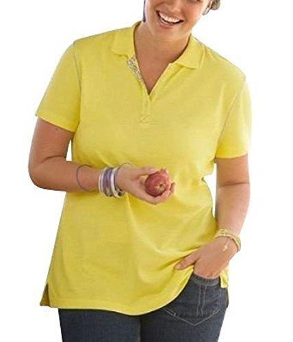 Camisa de polo de su life su fashion en amarillo - algodón, amarillo, 100% algodón. 100% algodón, mujer, 44/46