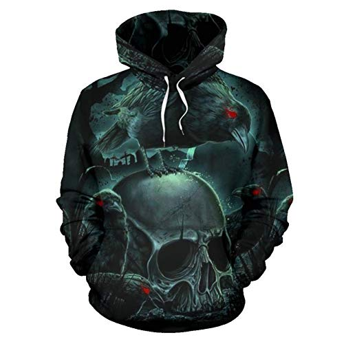 (TDPYT Paare Männlich Weiblich Unisex Horror Schädel 3D Print Hoodies Tasche Hoody Sweatshirts Hip Hop Mantel Jacke Pullover Tops-Q 4XL)