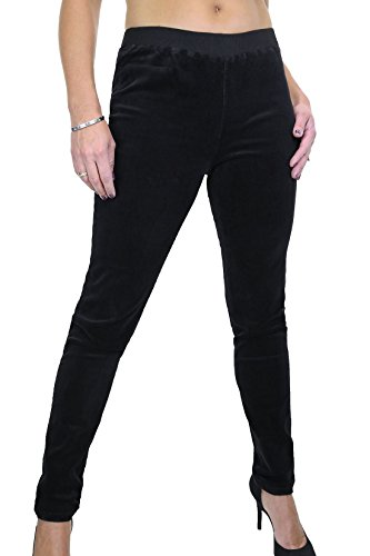 ICE (1538-1) Jeggings Stile Jogging Velluto con Filo Elastico Nero