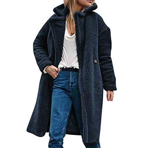 AMUSTER Damen langarm Plüsch Lammwollmantel Revers Mantel Teddy-Fell Fellimitat Jacke Tunika Parka Cardigan Strickjacke Frauen Winter Casual Warme Parka Jacke