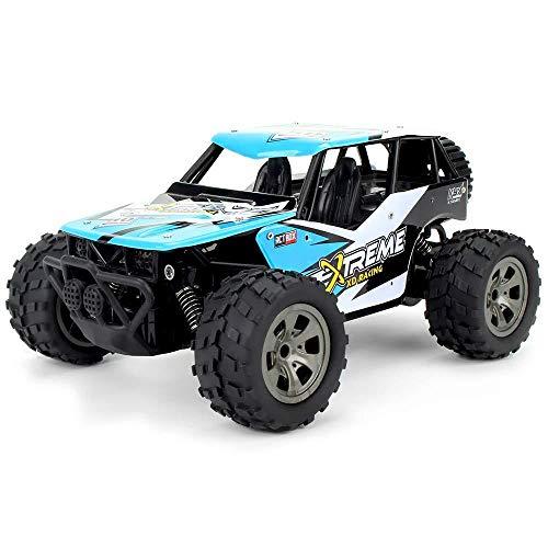 rnbedienung RC Autos Spielzeug 2,4G 1/18 18 km/h RC Monster Truck Auto RTR Spielzeug 260 Starke Leistung Motor Cool Leistungsstarke RC Autos Off-Road Wüste RC Auto Kinder Ges,Blue ()