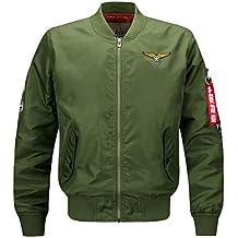 9db015620a5 Kairuun Chaqueta Bomber para Hombre Chaqueta Estilo Militar Cremallera  Casual Manga Larga Chaquetas