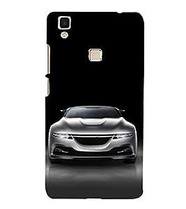 FUSON White Metalic Sports Car 3D Hard Polycarbonate Designer Back Case Cover for Vivo V3Max
