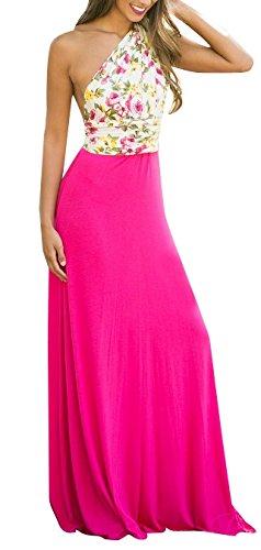 Blansdi Damen Elegant Sommerkleid V-Ausschnitt Rückenfrei Maxi Lang  Strandkleid Cocktailkleid mit Träger Blumenmuster Etuikleid