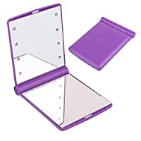 Sotoboo Flodable LED Lighted Travel Makeup Mirror, Pocket Handheld Mirror - Daylight Led, Compact, Portable, Large 11*8.5cm Illuminated Mirror for Outdoor Travel Work (Purple)