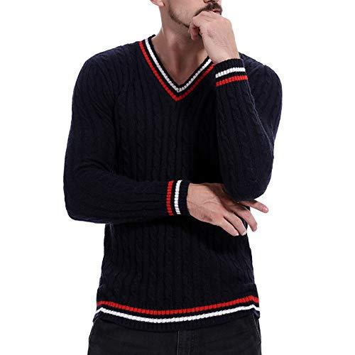 Striped V-neck Pullover (Xmiral Herren Pullover Strickwaren Striped V-Ausschnitt Pure Color Sweater Outwear (XXL,Marine))