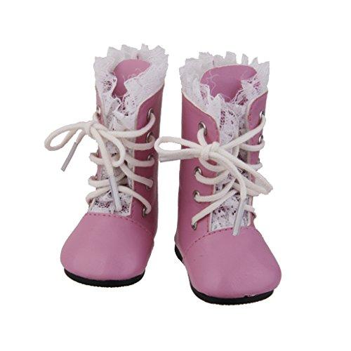 Spitze Stiefel Puppenschuhe Mini Schuhe Rosa für American Girl Puppen