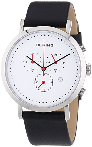 Bering Time Men's Quartz Watch with White Dial Chronograph Display and Black Leather Strap 10540-AZ1