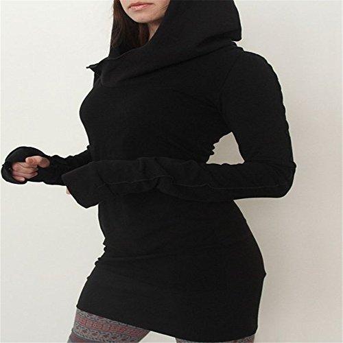 Outstanding-Dress-Vestito-Aderente-a-Maniche-Lunghe-Con-Cappuccio-Slim-Autunno-Inverno-Donne
