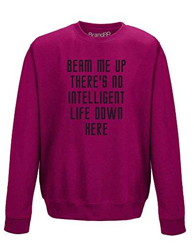 (There's No Intelligent Life Down Here, Erwachsene Gedrucktes Sweatshirt - Rosa/Schwarz M = 102cm)