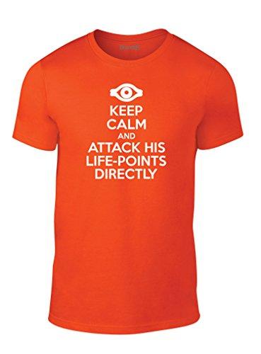 Yu Shirt Gi T Oh (Attack Life-Points Directly, Erwachsene Mode T-Shirt, Orange/Weiß, M-96-101cm)