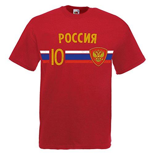 Fußball WM T-Shirt Fan Artikel Nummer 10 - Weltmeisterschaft 2018 - Länder Trikot Jersey Herren Damen Kinder Russland Rusia Russia M