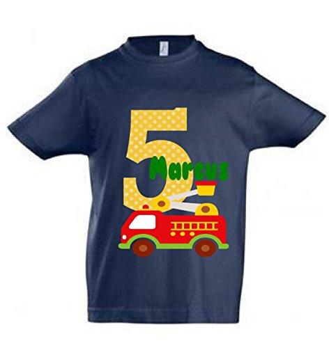 wolga-kreativ T-Shirt mit Namen Geburtstagsshirt Geburtstag Feuerwehr Junge Wunschname personalisiert - Personalisierte Geburtstags-shirt