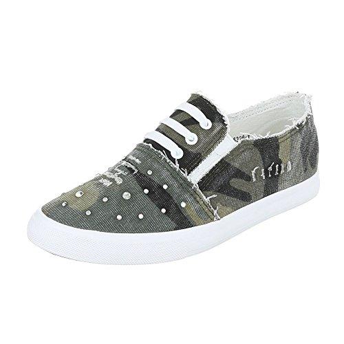 Low-Top Sneaker Damenschuhe Low-Top Sneakers Ital-Design Freizeitschuhe Grün