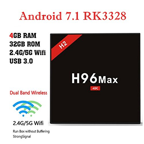 H96 Max H2 RK3328 Chip 4GB RAM 32GB ROM Android 7.1 Quad Core CPU Support 5G WiFi - H2 Media