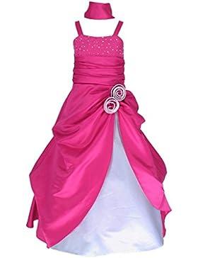 Sin mangas Vestido satén vestido de fiesta para niña vestido de madrina vestido de ahijada para 4—14 años.