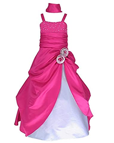 Sleeveless Satin Pageant Party Occasion Flower Girl Dress Hot Pink & White 10 Years (F6008-10#)