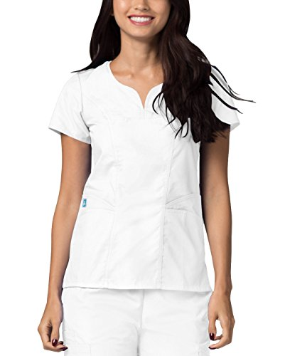 (Adar Universal Curved Pocket Glamour Scrub Top - 2632 - White - 3X)