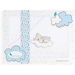 Sabanas de Invierno CORALINA Extrasuave MINICUNA 50x80 - (bajera+encimera+funda almohada) - Color: Blanco/Azul - OFERTA