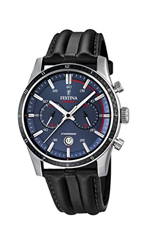 Festina Men's Quartz Watch with Blue Dial Chronograph Display and Black Leather Strap F16874/2