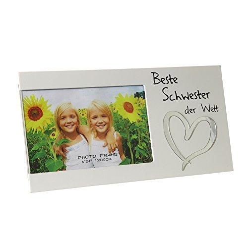 DRULINE Bilderrahmen Fotorahmen Rahmen Holz Weiß Geschenk Geschenkidee Persönlich Beste Schwester