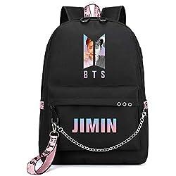 ZIGJOY Kpop BTS Bangtan Boys Mochila Mochila escolar Mochila con puerto de carga USB Suga Jin Jimin Jung Kook Para aficionados Jimin Negro