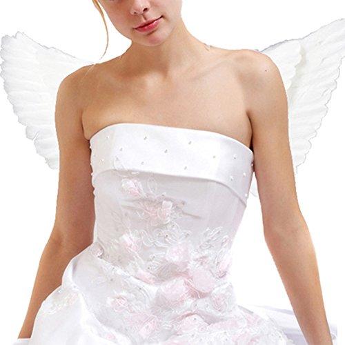 Engelsflügel Halloween Kostüm Feder Flügel für Erwachsene 55 * 40 cm Weiß (Machen Feder Flügel Kostüm)
