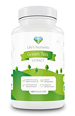 Green Tea Extract providing 850mg | 120 capsules | Natural appetite suppressant and weight management | Vegan and vegetarian friendly | Manufactured in the UK by Life's Nutrients