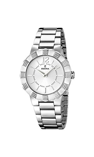 Festina Women's Quartz Watch with White Dial Analogue Display and Silver Stainless Steel Bracelet F16730/1