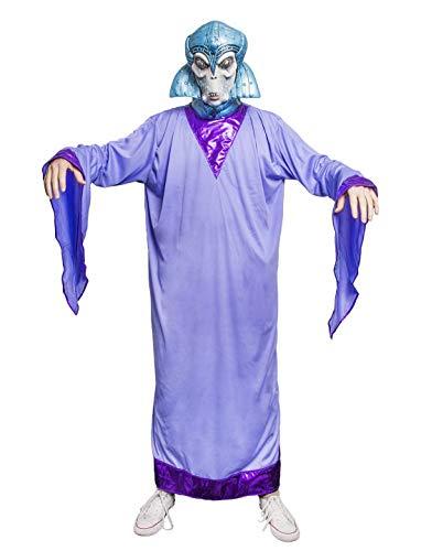 Karnevalsbud - Damen Frauen Kostüm Außerirdische Alien Königin Queen, Lange Robe, perfekt für Halloween Karneval und Fasching, One Size, Lila