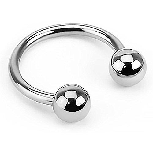 Piercing Ring Hufeisen Augenbrauen Lippen Ohr Nasen Intim Piercing Circular Barbell silber 1,2 mm 8 mm