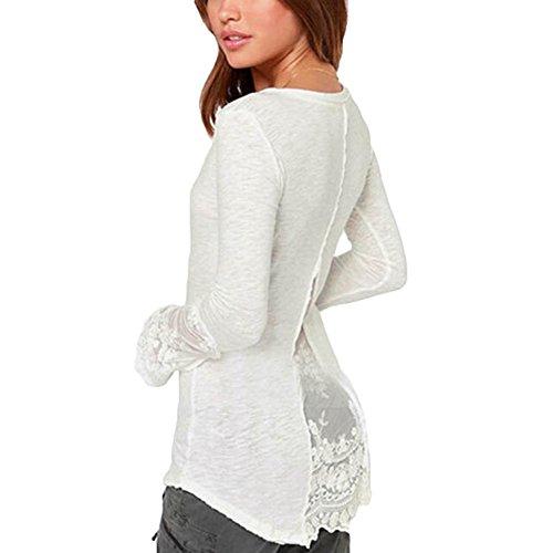 Hibote Élégant Femmes Tops Blouses Tunique - Mode Femmes Manche longue Chemisier Avec Col en V Décontractée Chemise T-shirt Tops Noir/Blanc M-4XL Blanc