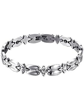 Cupimatch Damen Edelstahl Armband, elegant Stern Design mit Cubic Zirkonia Armreif Magnetarmband Hochglanz Poliert...