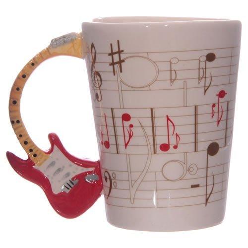 Rock Guitarist Ceramic Coffee Mug Taza de mango de guitarra con notas musicales Musicians Tea Cup Regalo para los amantes de la música