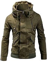 TAOtTAO Winter-Volltonfarbe dick mit Baumwolle gefütterte Baumwolle mit  Kapuze Männer Winter Langarm Tasche Stehkragen Zip Outwear… 8e750b728a