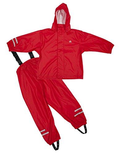 Elka Regenanzug Regenhose + Regenjacke für Kinder, gestreift und einfärbig Farben viele Größen 220g/Polyester (80, Rot)