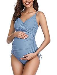 Solide Schwangerschafts Badeanzug Retro Pflaume Wrap Front Tankini