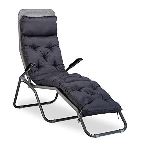 Relaxdays Deckchair Auflage, Liegenauflage Garten, Sesselauflage, Gartenauflage Liege, HxBxT: 180 x 44 x 11 cm, grau